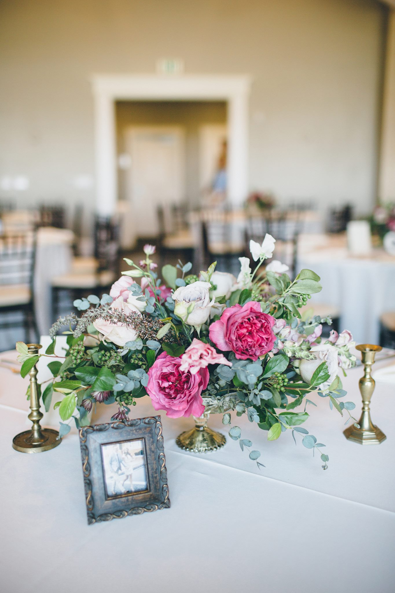 pink and green low centerpiece