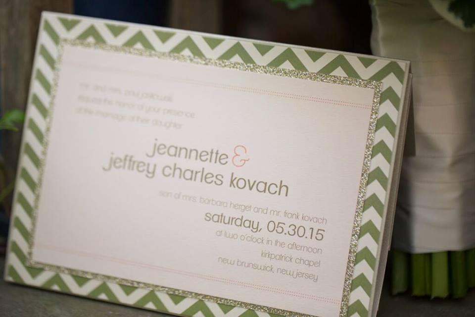 wedding invitation with chevron border detail