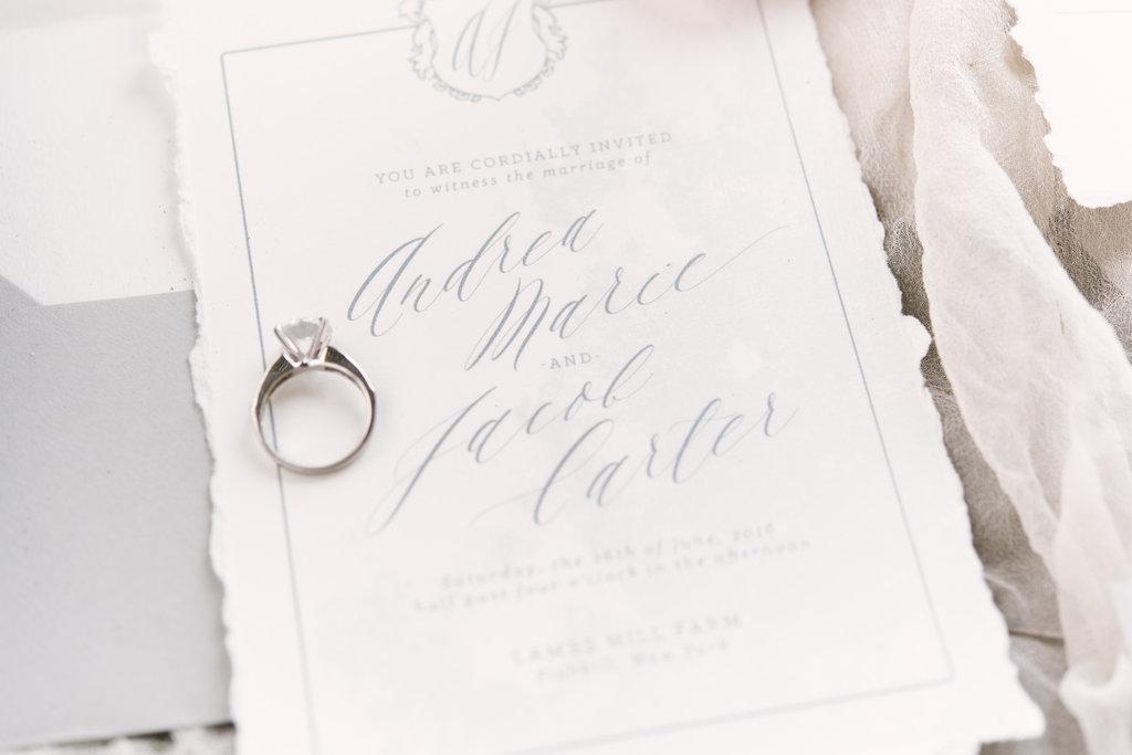 soft ripped cotton wedding invitation