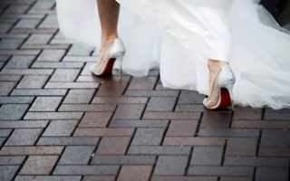 red bottom cinderella wedding shoes