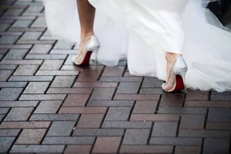 red bottom cinderella wedding shoes