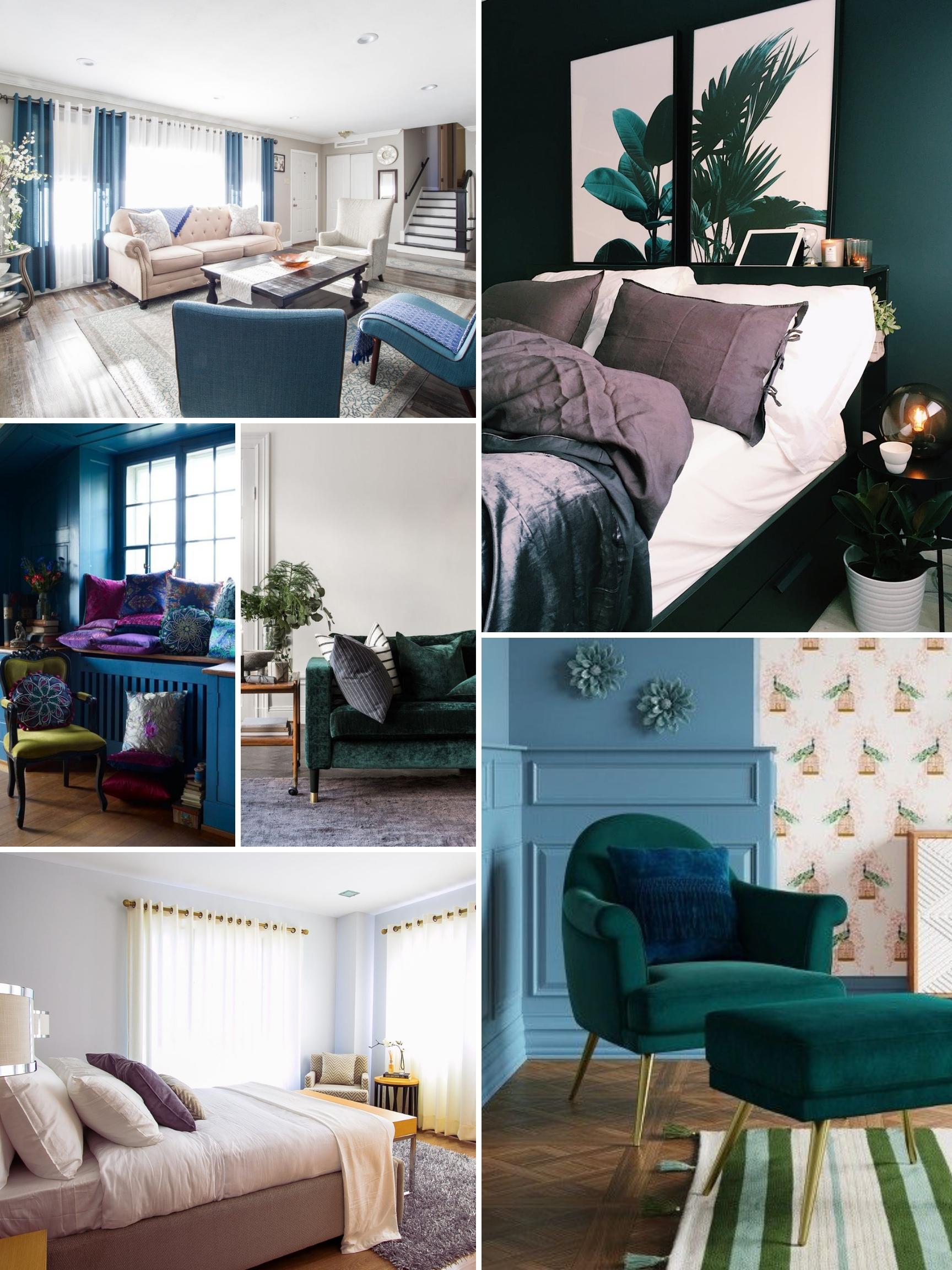 inspo board for jewel tone colors interior design