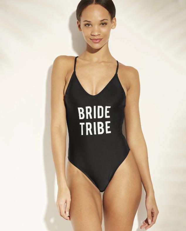 bride tribe one piece black swimwear