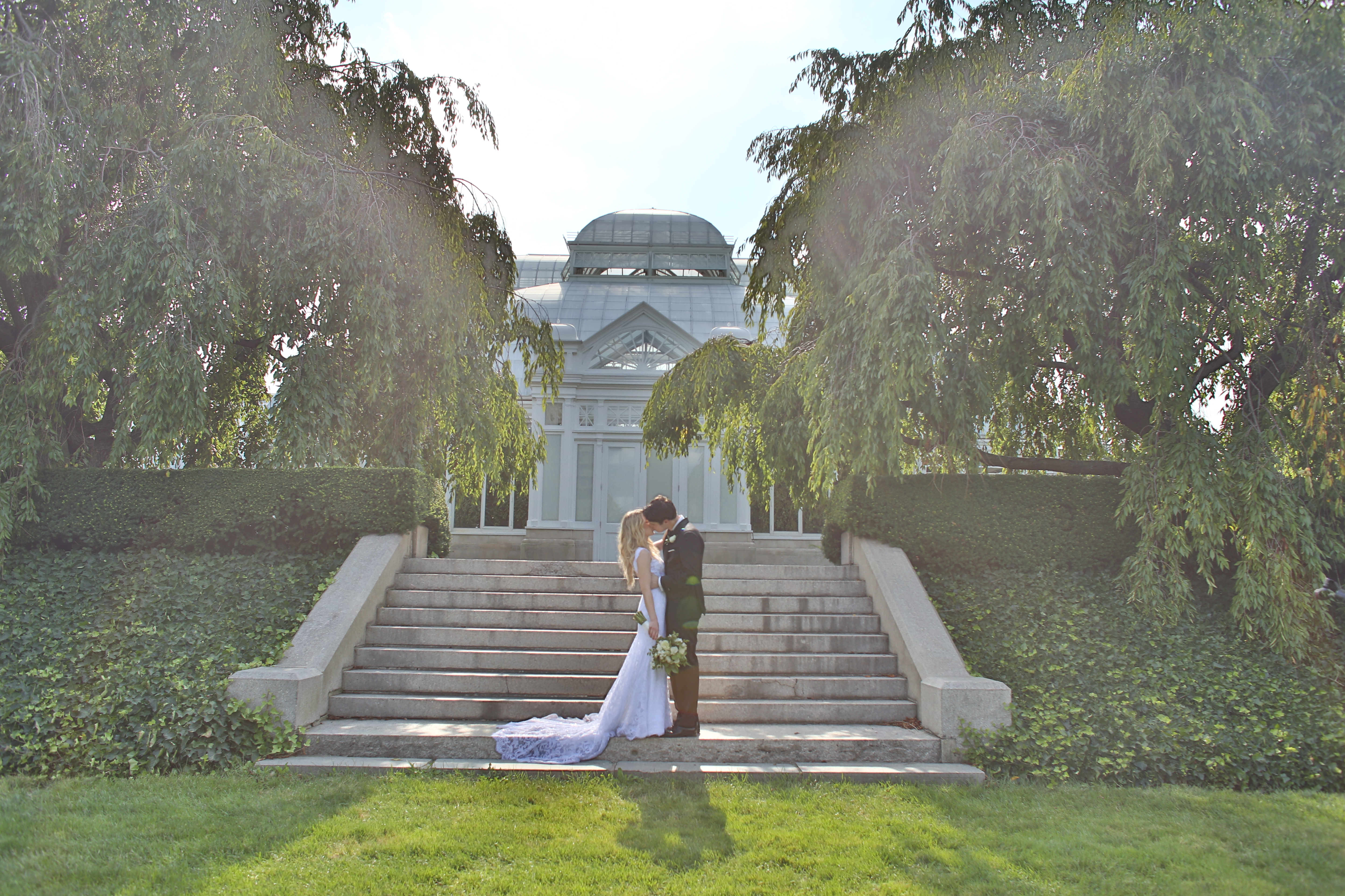 bride and groom outside conservatory