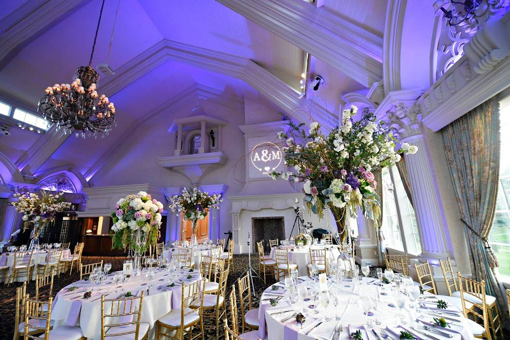 purple ballroom wedding
