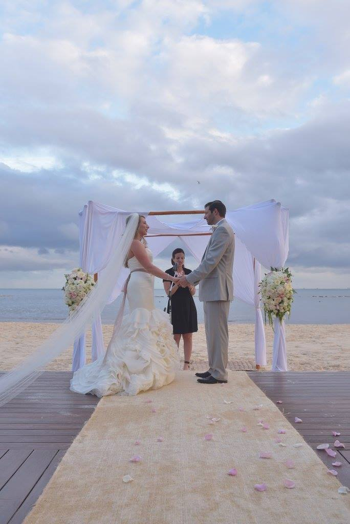 bride and groom beach wedding ceremony