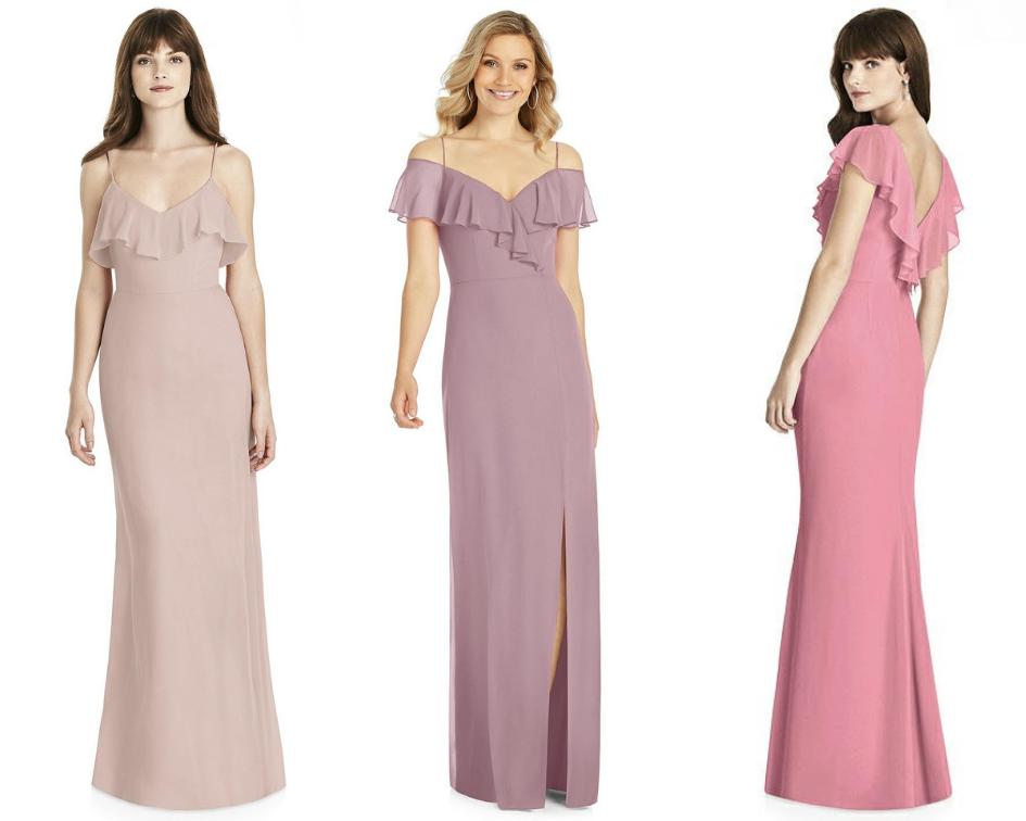 three bridesmaids dresses