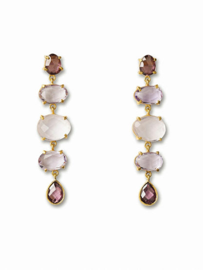 pink and gold drop earrings