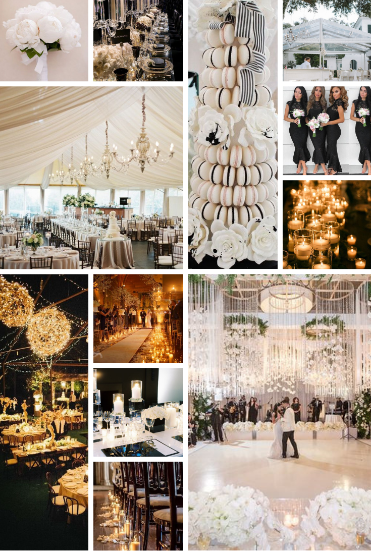 inspo board for black and white wedding