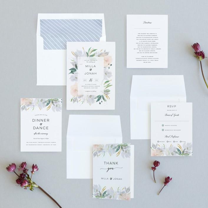 blue and white wedding invite