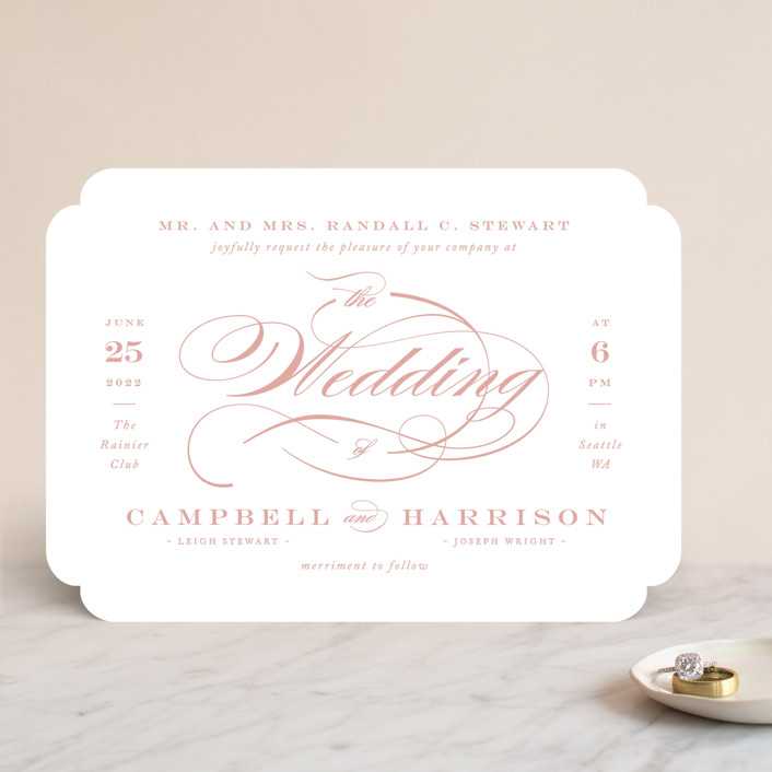 pink and white wedding invite
