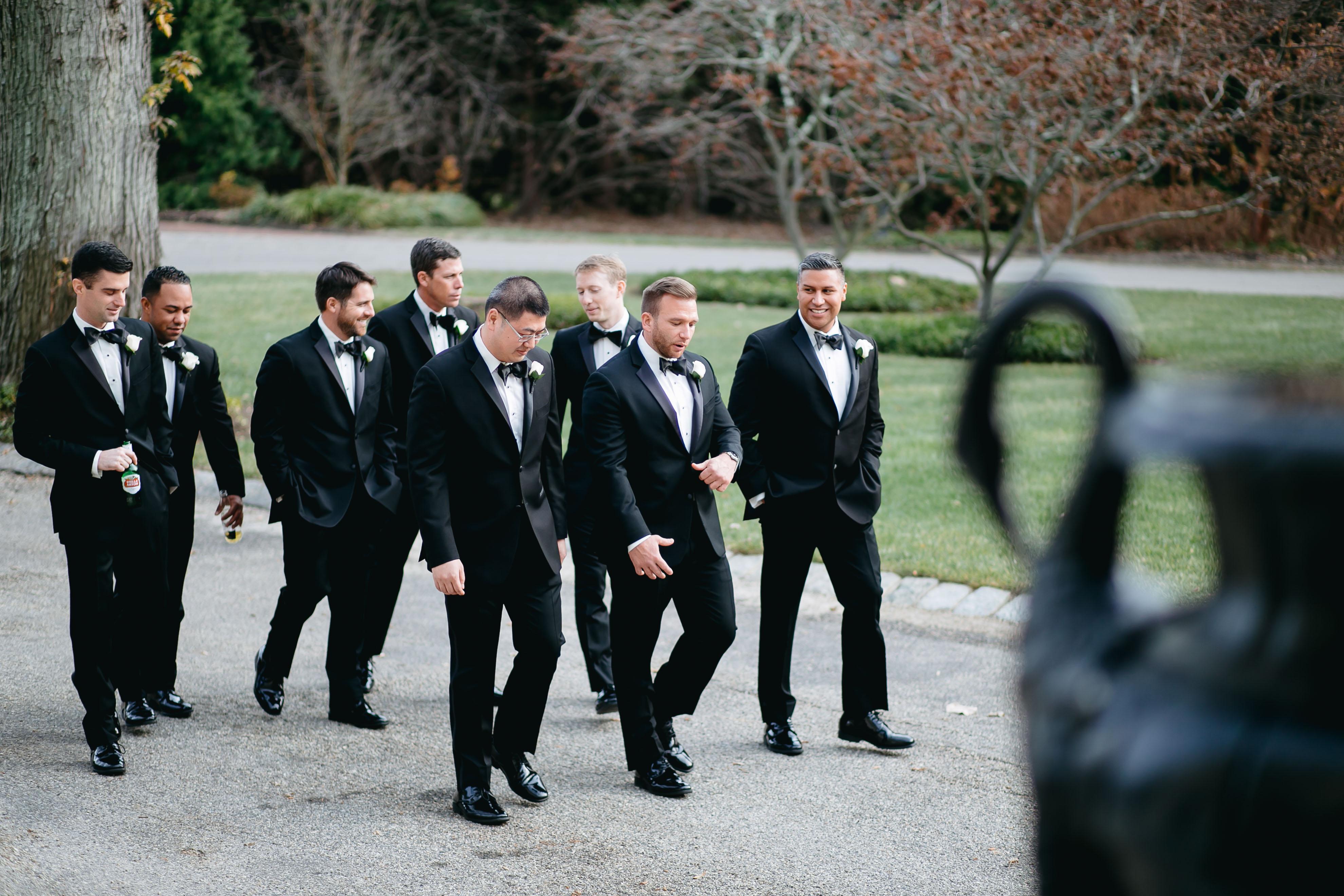 groom and groomsmen walking