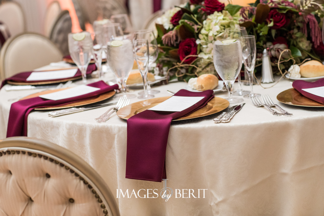 wedding reception table with wine napkins
