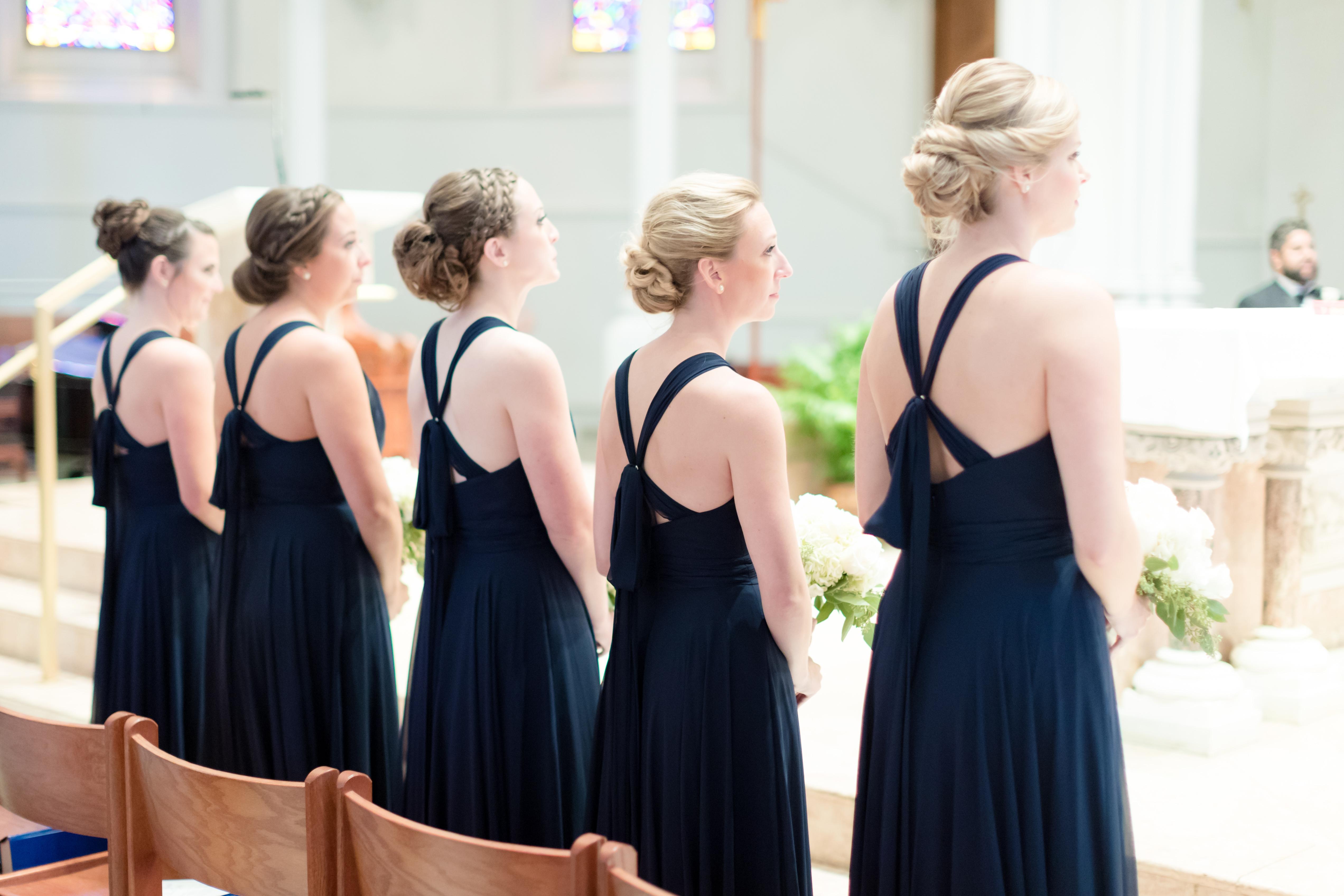 fall wedding bridesmaid dresses blue