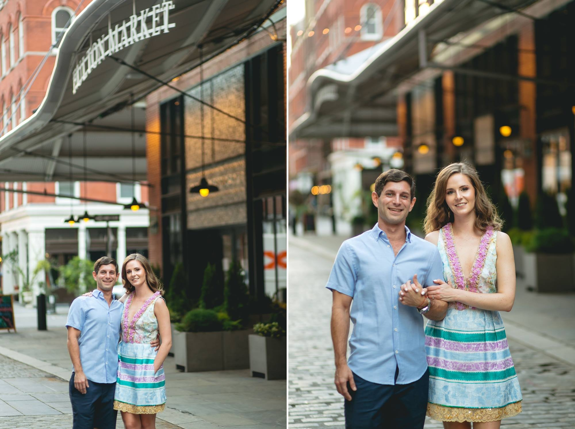engagement photos of couple in nyc
