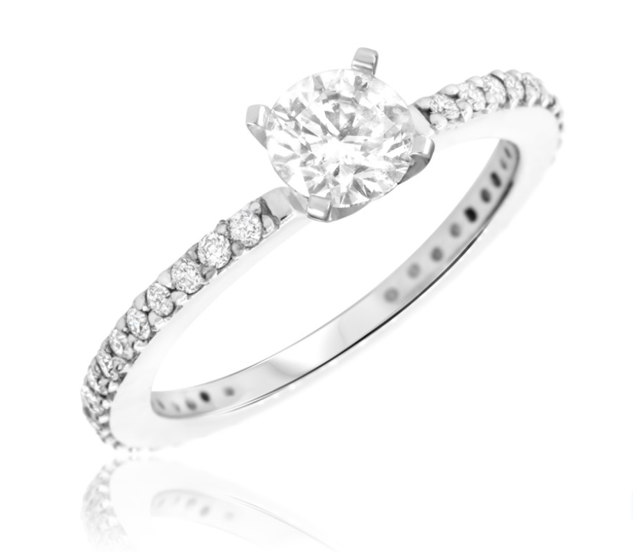 solitaire engagement ring diamond band
