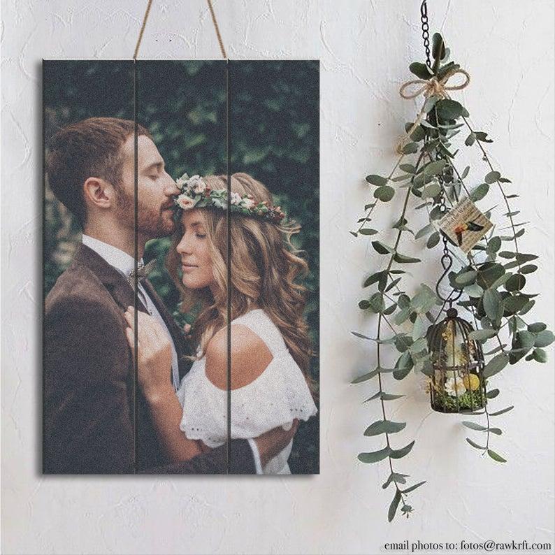 wood pallet wedding portrait