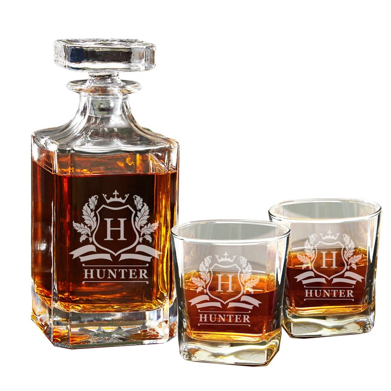 whiskey decanter and glasses