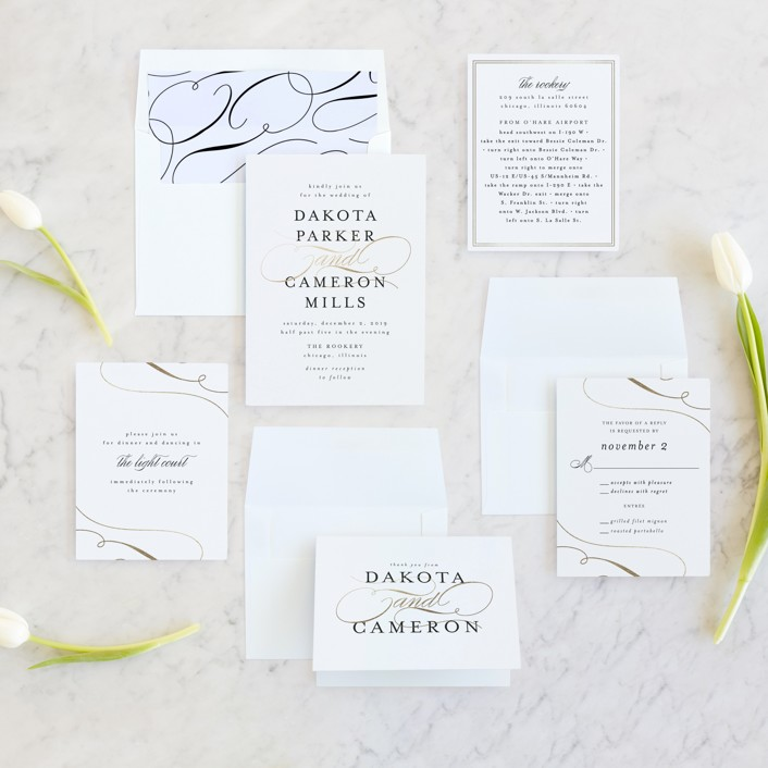 black and white wedding invite suite