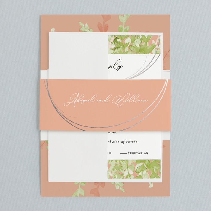 cantaloupe color wedding invitation
