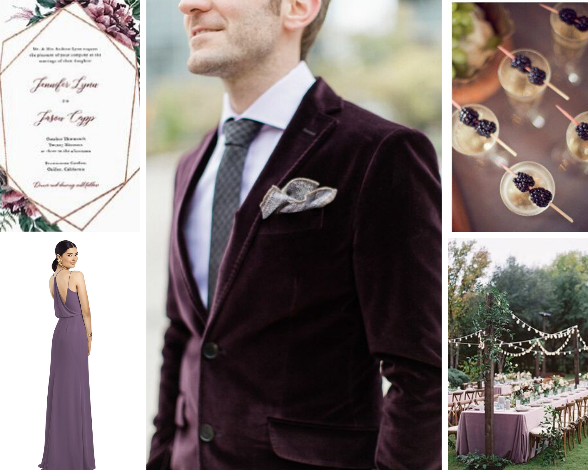 cassis wedding color inspo board