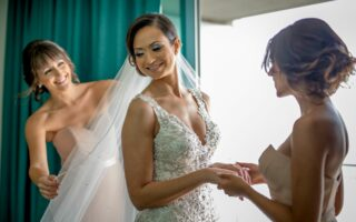bride getting ready with wedding party