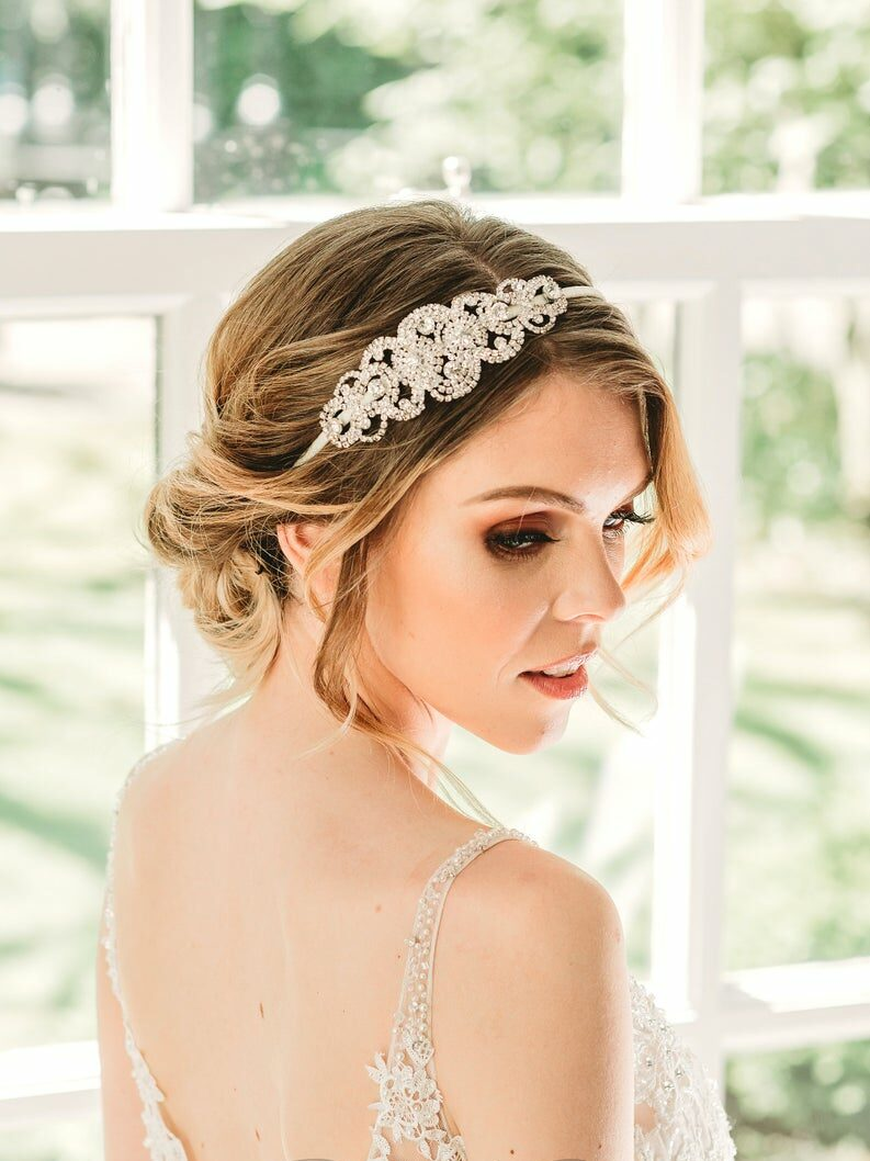 bride with hair piece on side