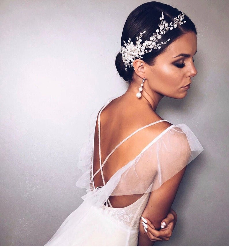 updo with bridal headpiece