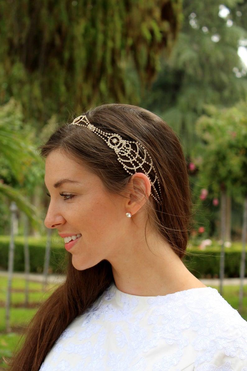 boho gold headband