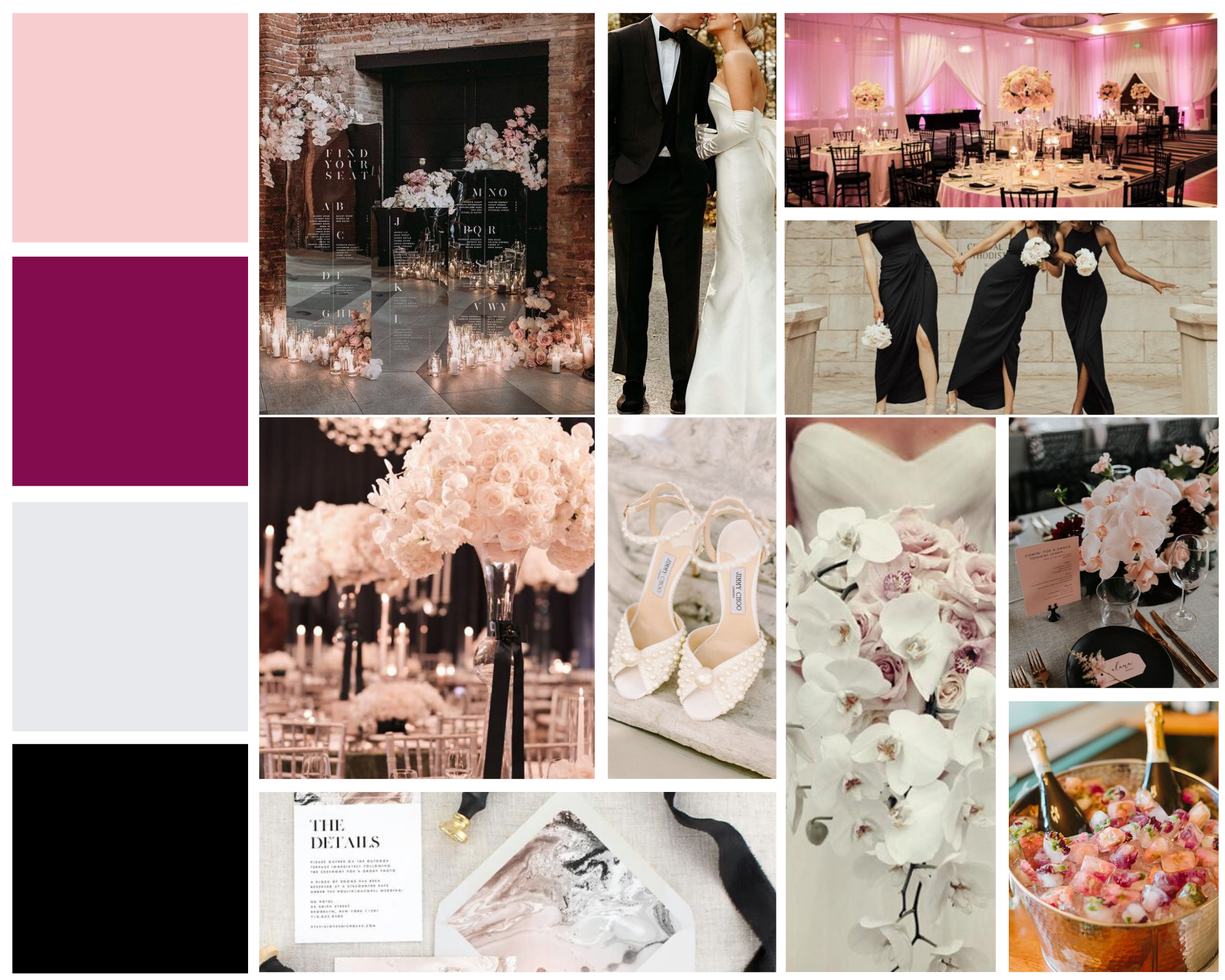mood board for classic valentine's day inspired wedding