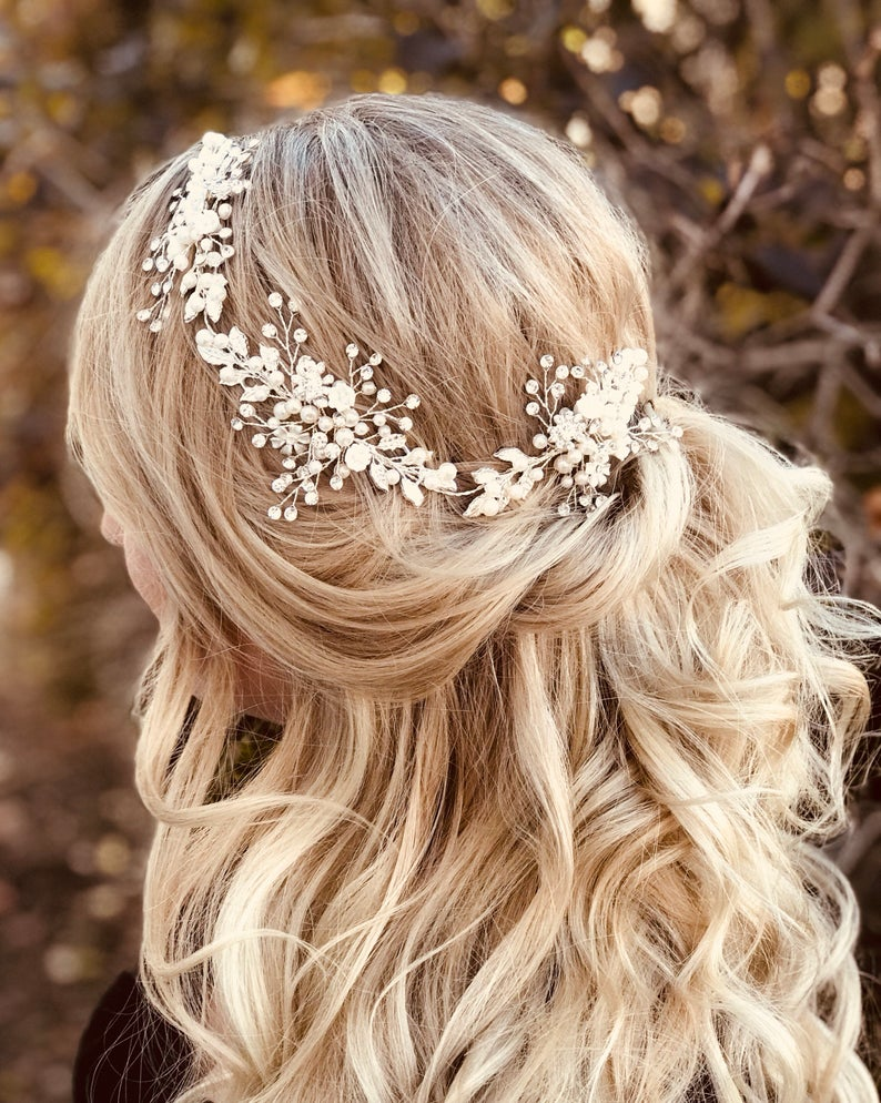 half up with floral halo headpiece