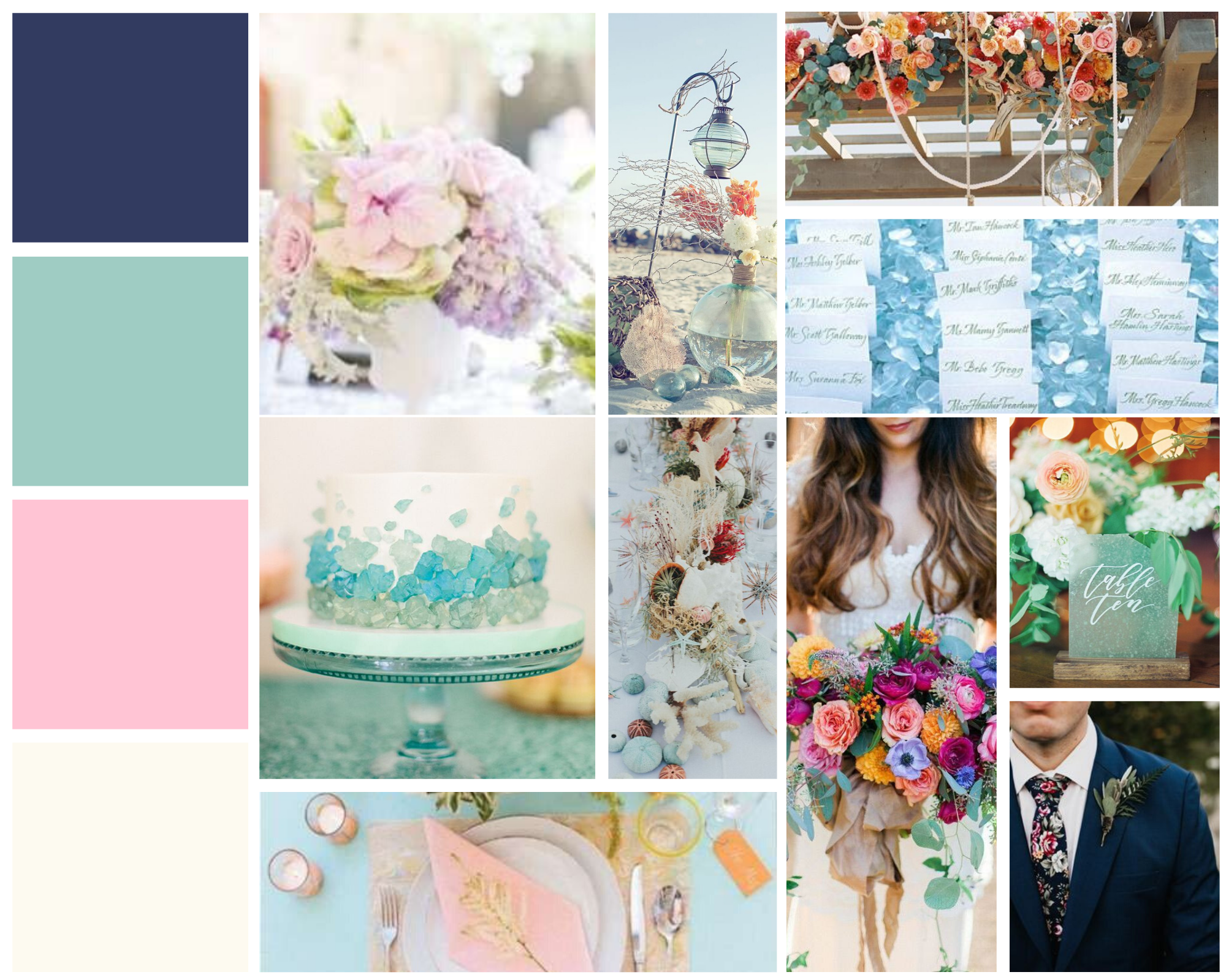 mood board for sea glass green wedding day