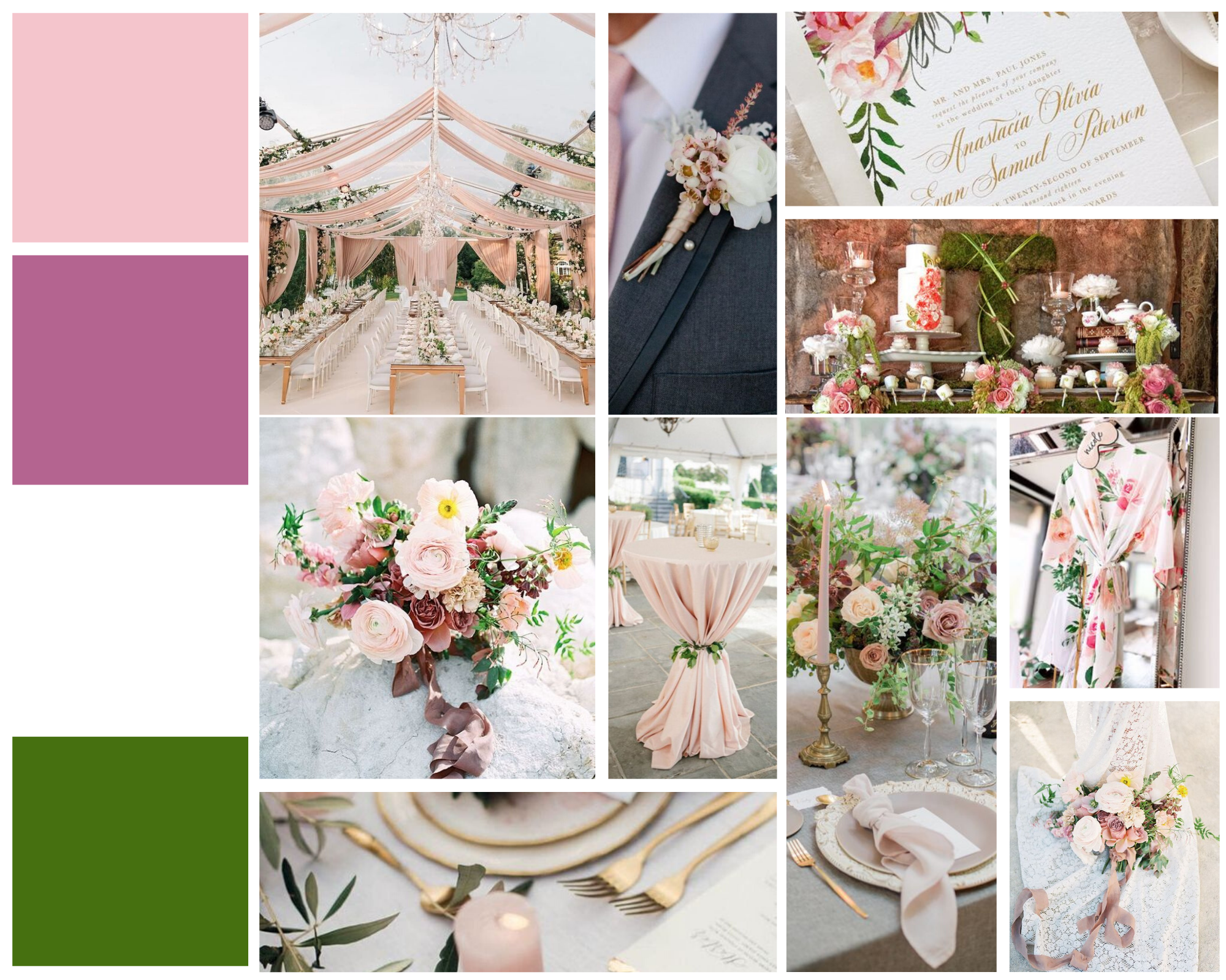 wedding mood board with pink and green