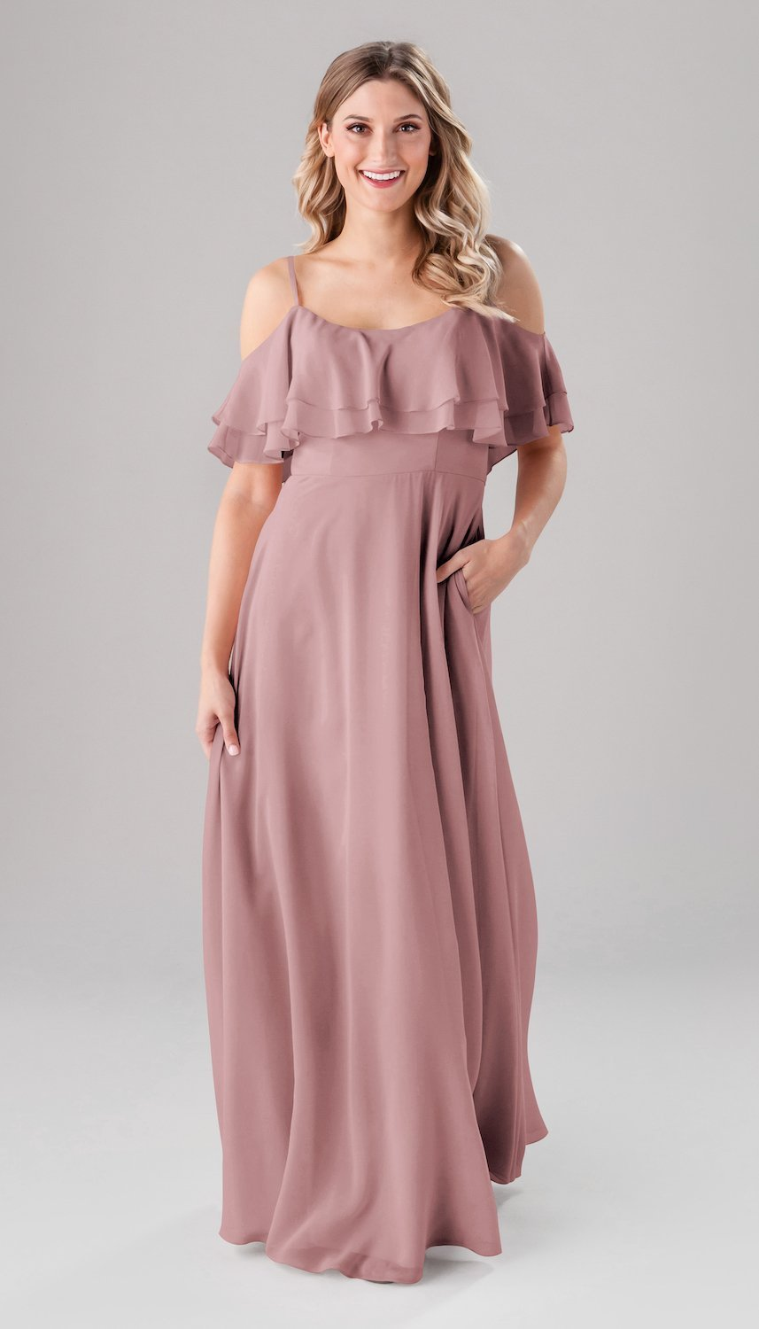 long off the shoulder pink bridesmaid dress