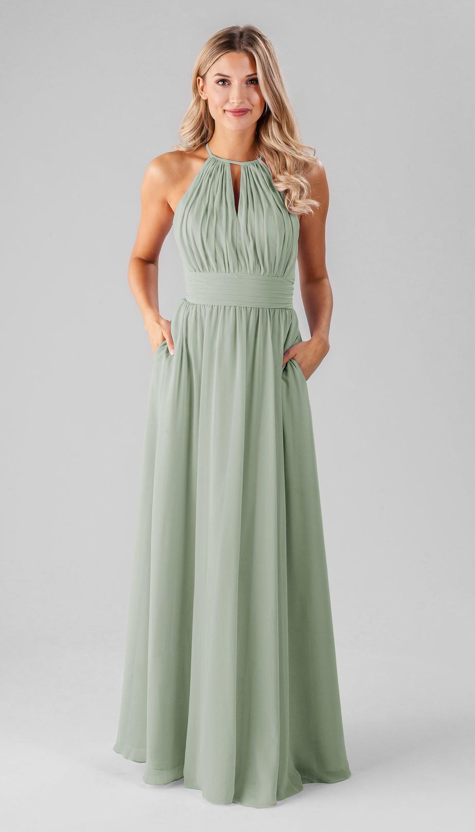 long sage green bridesmaid dress
