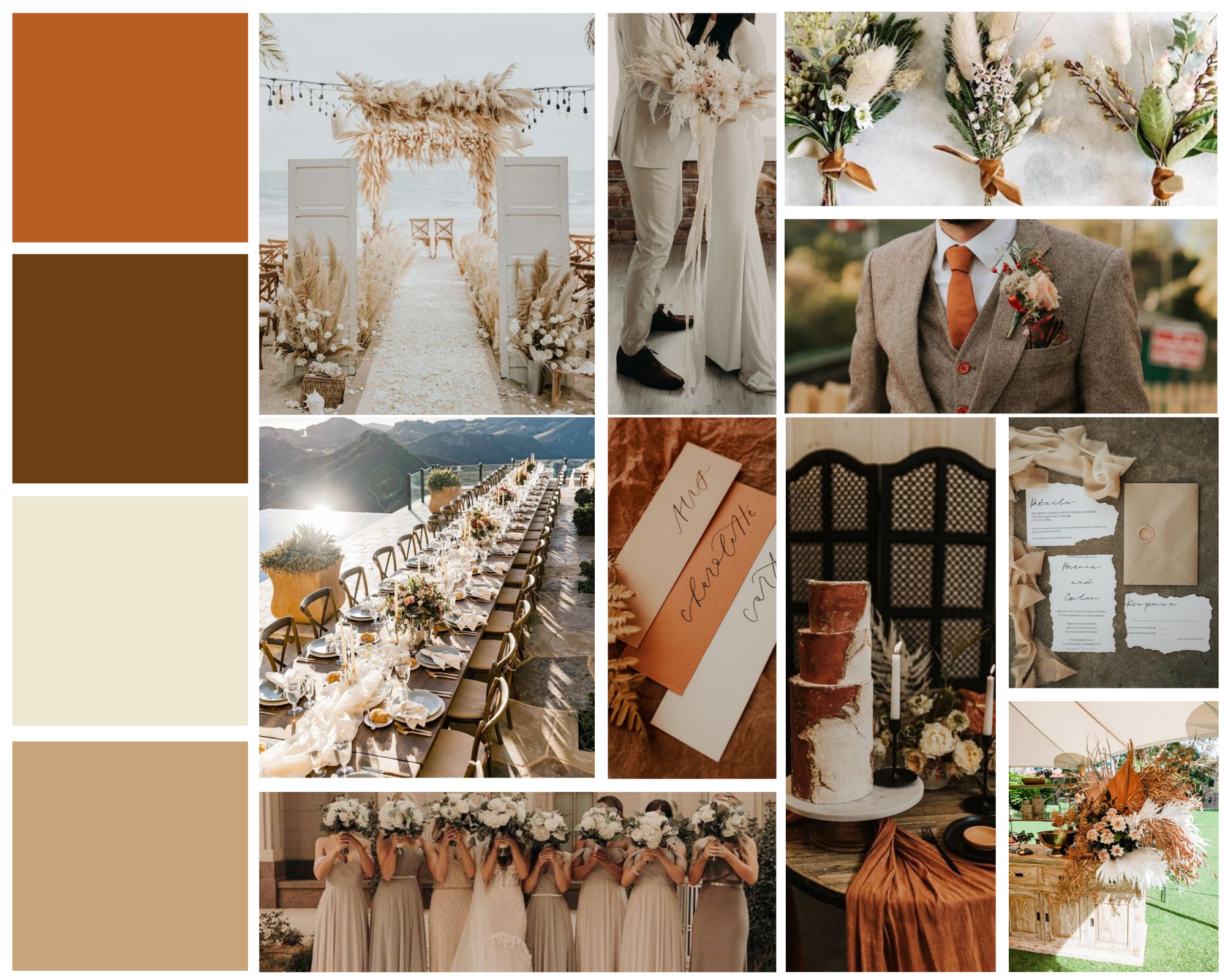 mood board for rustic wedding with neutrals and orange