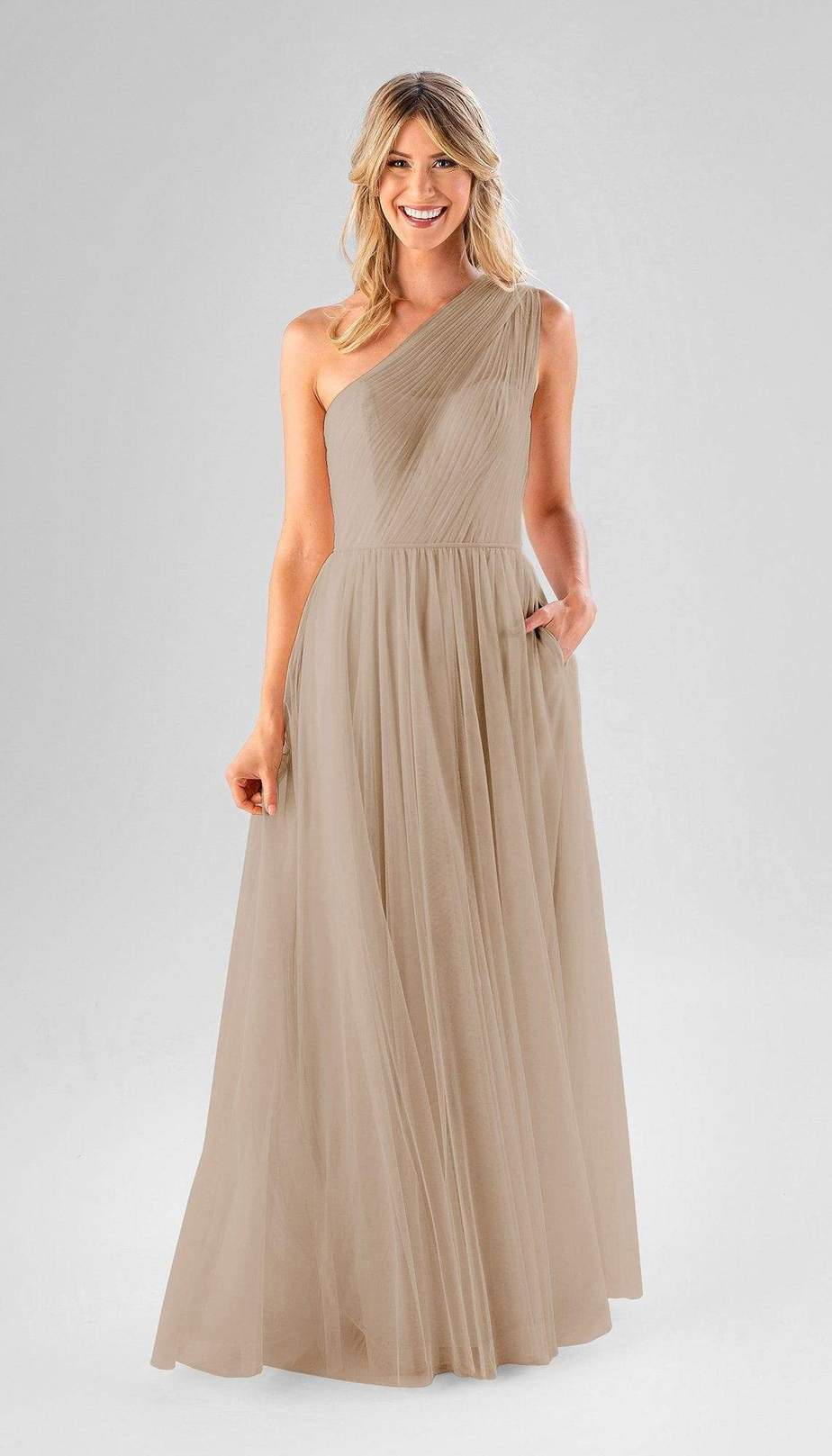 long one shoulder beige bridesmaid dress