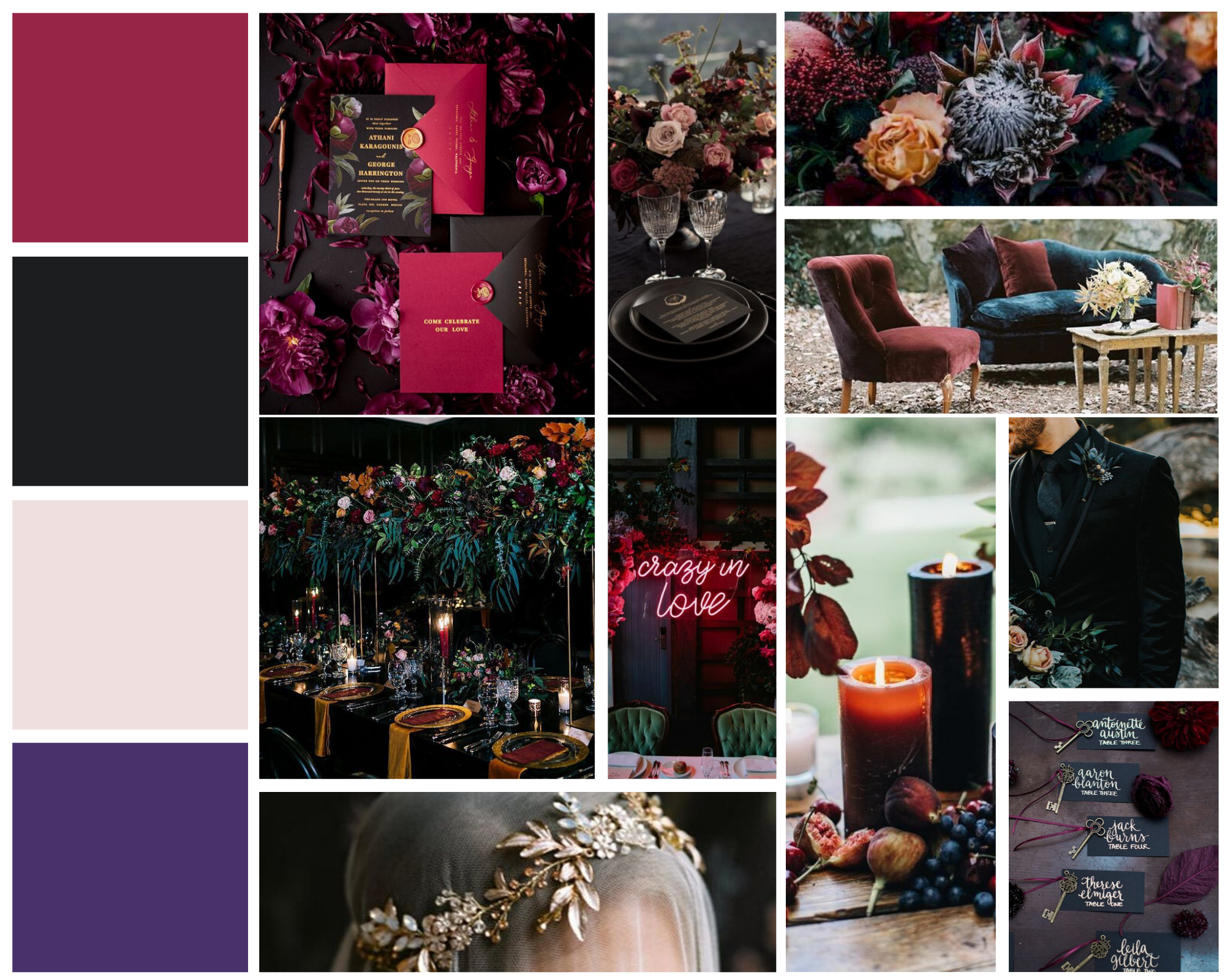mood board for jewel tone color wedding