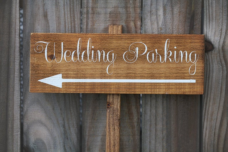 wooden wedding parking sign