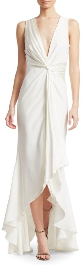 high low white wedding dress