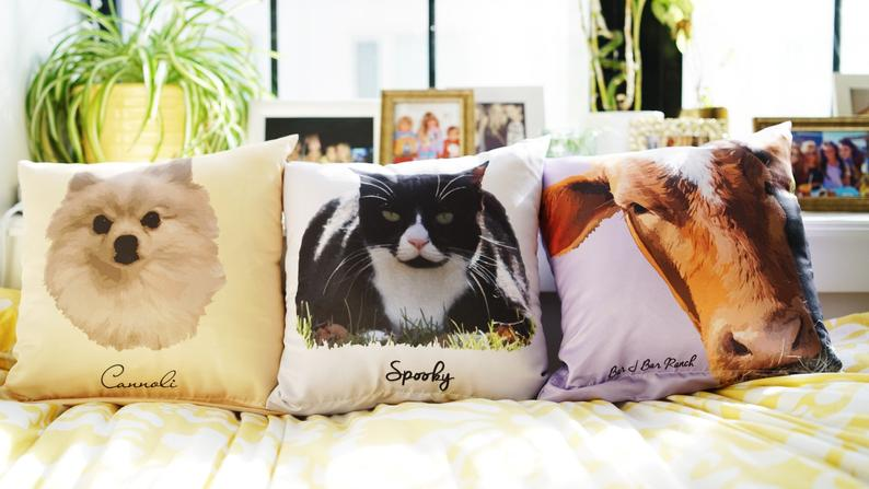 custom dog pillow pet portraits