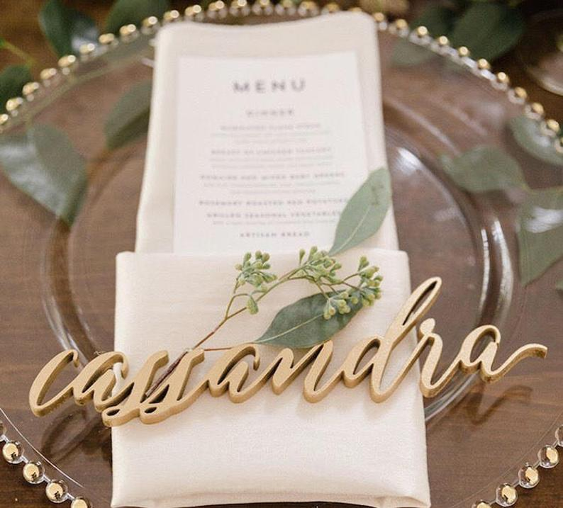 gold placecard