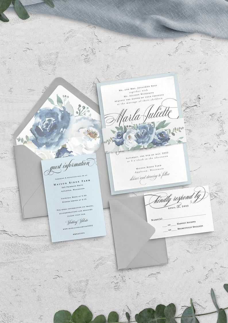 soft blue spring wedding invitations