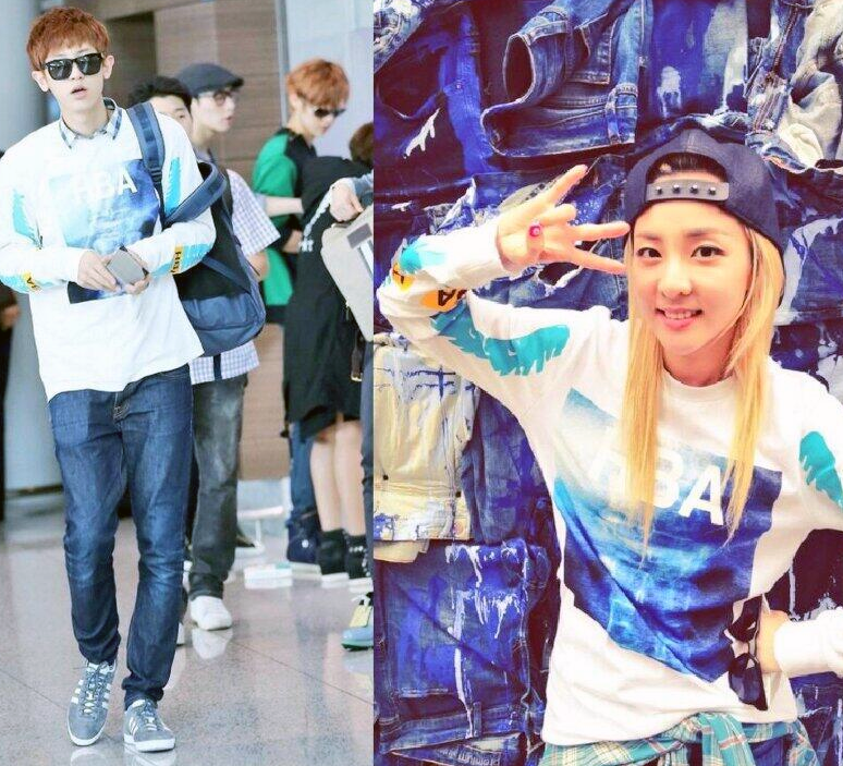 dara and chanyeol wearing hood by air