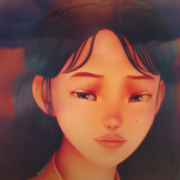 "Animated image of IU looking out a plane window in the music video of ""eight"" by IU and BTS's Suga."