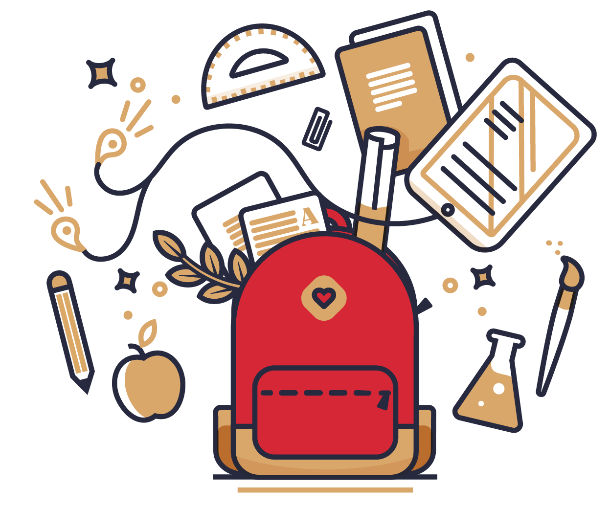 Illustration: Resources - Book bag with school subjects around