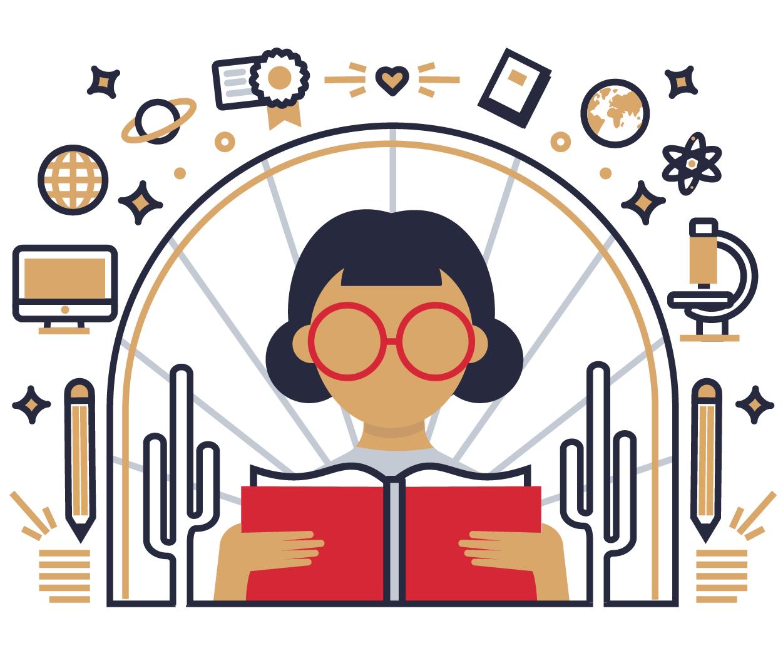 Illustration: Why SVA - Student reading book
