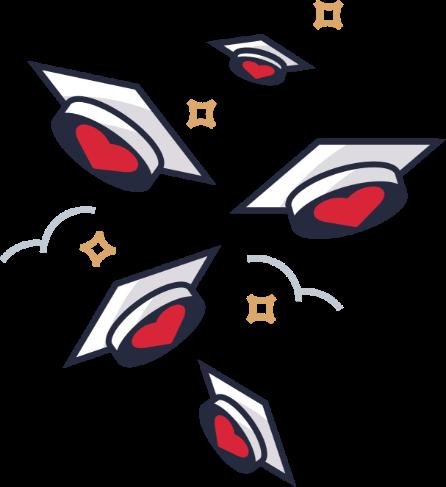 Illustration: Graduation caps in the air