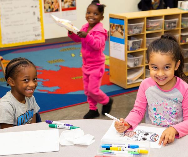 Photo: Preschool students coloring