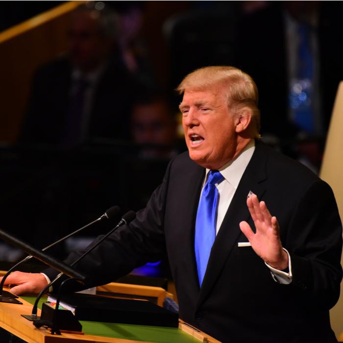 Trump giving a speech